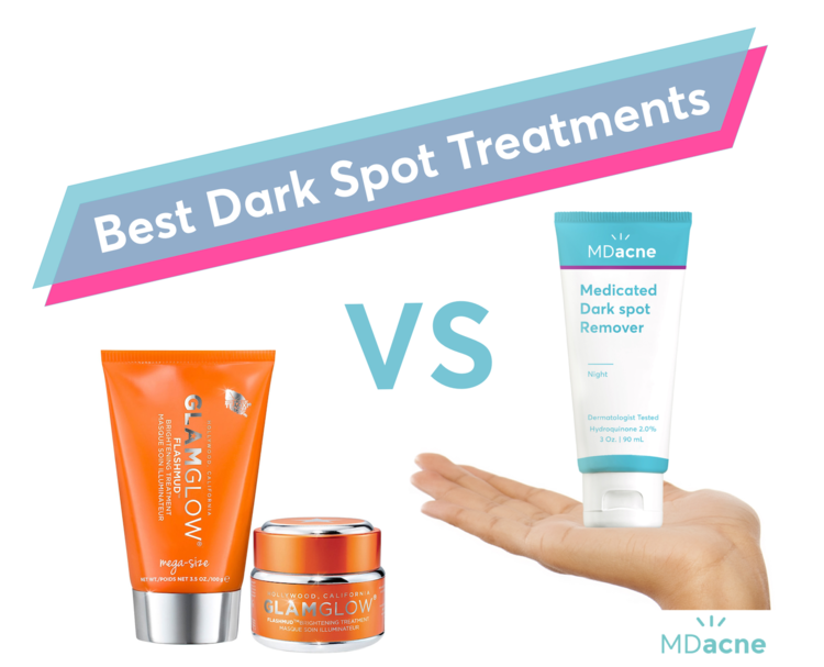 GlamGlow's Flashmud compared to MDacne's Dark Spot Remover